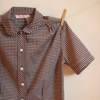 Vintage. 50's. White Taupe and Black Checkered Blouse. Peter Pan Collar. Short Sleeves. Button Up. Tailored. Mad Men. Medium M