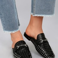 Steven by Steve Madden Razzi Black Leather Studded Loafer Slides