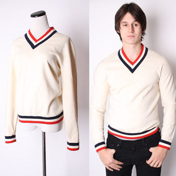 Vintage Unisex Men's Ivory V Neck Red and Navy Chevron Preppy 1960s Sweater / Mens Sweater / Womans Sweater / Preppy / 1498