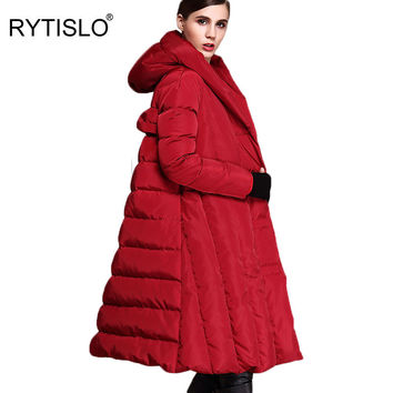 RYTISLO 2016 Winter Duck White Hooded Women Down Jackets Long Coat Parkas Thickening Female Warm Clothes Top Quality