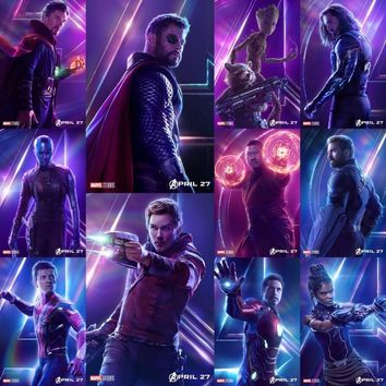 MQ3594 Avengers Infinity War New 2018 Movie Film Iron Man Spider Man Thor Winter Soldier Thanos Art Poster Silk Home Decor Print