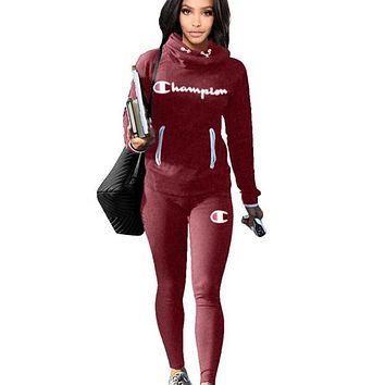 Champion Autumn And Winter Fashion New Letter Print Sports Leisure Keep Warm Two Piece Suit Long Sleeve Top And Pants Burgundy