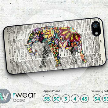 Elephant iPhone 4 case, Elephant on Dictionary Page iPhone 4 4g 4s Case,Colorful Elephant Hard iPhone Case Rubber iPhone Case cover skin
