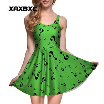 Batman Dark Knight gift Christmas NEW 1089 Sexy Girl Women Summer Batman the Riddler ?  Mark Comics 3D Digital Prints Reversible Sleeveless Skater Pleated Dress AT_71_6