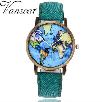 Global Travel By Plane Map Watch  Dress Watch Denim Fabric Band Quartz Wristwatches FREE SHIPPING
