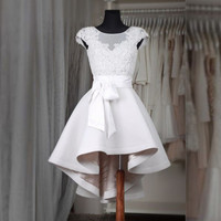 Cap Sleeve Noble High Low 2017 New Sexy Mini Short White Beads Lace Women Special occasion Cocktail Party Dress robe de cocktail