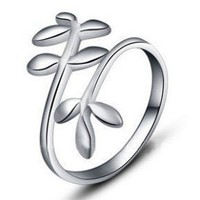 .925 Sterling Silver Flower Vine Open Back Adjustable Ring Band