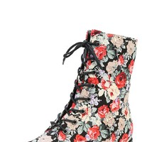 Wild Diva Lounge Madrid-10 Black Floral Rose Lace Up Combat Boots and Shop Boots at MakeMeChic.com