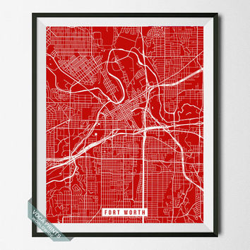 Fort Worth Street Map Print, Texas Poster, Fort Worth Poster, Texas Print, Home Decor, Wall Print, Wall Decor, Back To School