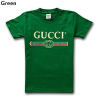 GUCCI street fashion men and women models simple wild round neck half sleeve T-shirt (high quality) Green