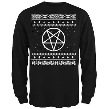 White Satanic Pentagram Ugly Christmas Sweater Black Adult Long Sleeve T-Shirt