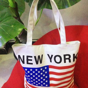 NEW YORK American Flag Canvas Shopping Tote Bag