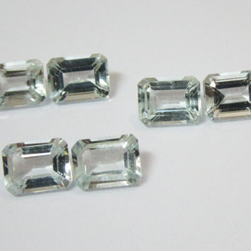Aquamarine Emerald cut 6 Gemstones 8.76 Very Very Light blue Gemstones March Birthstone