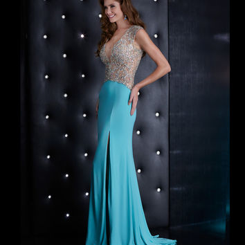 Mint Green Beaded Illusion Bodice & Back Gown