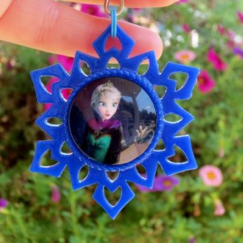 Frozen's Elsa Snowflake Key Ring Chain or Necklace, Your Choice