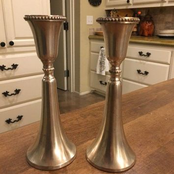 """Set of Two VTG Pottery Barn Heavy Silver Candle Sticks Holders Tapers 8"""" Tall"""