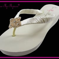 Bridal Flip Flops Diamond Rose Gold Ivory White Wedge Rhinestone Womens Wedding Platform Satin Flip Flops