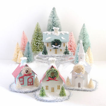 Putz Church Ornament Glitter House Vintage Style Christmas Decoration