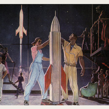 Alexander Deineka (1899-1969) Vintage Postcard «Conquerors of the Outer Space. 1961» - Printed in the USSR, «Mistetstvo», Kiev, 1977