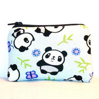 "Cute Panda & Bamboo Print Cotton Padded Pipe Pouch 4"" / Glass Pipe Case / Spoon Cozy / Piece Protector / Pipe Bag / MINI"