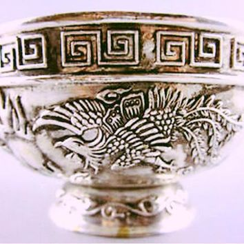 Handwork Tibet silver Carving Phoenix Dragon Bowl copper singing bowls~ Antique Garden statue