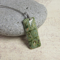 Large Pendant Rhyolite Necklace, Natural Green Rainforest Jasper, Rustic Sterling Silver Jewelry