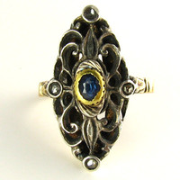 Antique Silver Topped Yellow Gold, Sapphire, and Diamond Ring