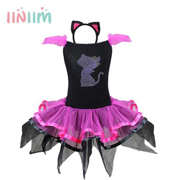 iiniim Kids Baby Girls Beading Cat Tutu Dress with Ear Headband Carnival Party Fancy Costume Party Ballet Performance Dancewear