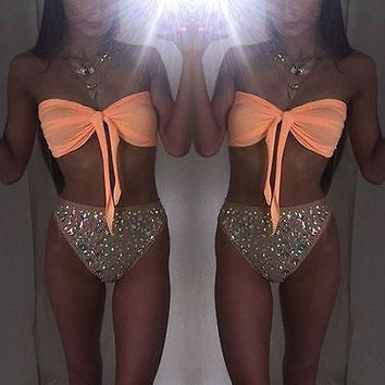 New Women Push Up Paded Beach Swimwear Sparkle Sequin Triangle Bra Bikini Set Bathing Sexy Women Beachwear Swimsuit