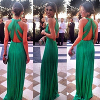 Women sexy backless bandage long prom cocktail dress lady sleeveless Pleated
