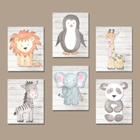 Watercolor ANIMALS Nursery Wall Art, Jungle SAFARI Animal Nursery Decor, Jungle Animals Wall Art, Safari Theme Canvas or Print Set of 6