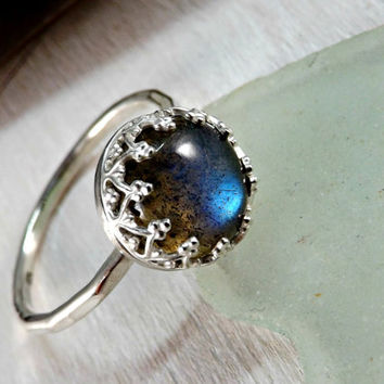 labradorite ring sterling silver ring handforged ring crown bezel setting alternative engagement ring stacking ring