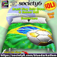 SOLD! Thank You! Brazil Flag Gold Green & Soccer Ball Comforters