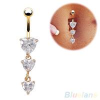 Triple Heart Crystal Belly Button Piercing