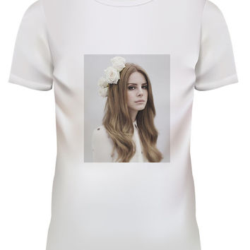 Unisex Lana Del Rey White Rose Pop Punk Rock White T Shirt Size S M L XL
