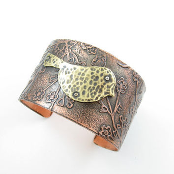 Bird in a Cherry Blossom Copper Brass Cuff Handmade Metalwork Jewelry Bird Cuff Cherry Blossom Sakura Cuff Wide Adjustable Cuff