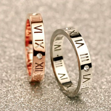 Jewelry New Arrival Shiny Gift Stylish Couple Roman Titanium Stainless Steel Ring [10794335303]