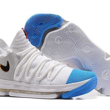2017 Nike Mens Kevin Durant Kd 10 Sky Blue/white/gold Basketball Shoes