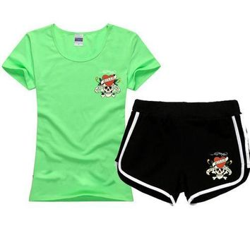 ED HARDY Women Men Fashion Print Cotton Sport Shirt Shorts Set Two-Piece Sportswear