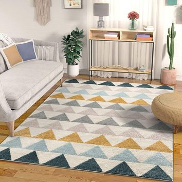 7028 Blue Gold Abstract Contemporary Area Rugs