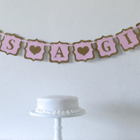 Fancy Pink + Glitter It's a Girl Baby Shower Banner or Blue + Glitter It's a Boy Baby Shower Banner