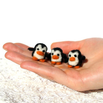Set of three miniature needle felted penguins, miniature, tiny puinguin, felt toy, made to order, mini penguin, Penguins of Madagascar movie