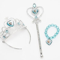 Disney FROZEN Queen ELSA Silver Wand Tiara Crown Bracelet Set