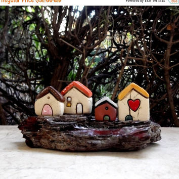 Holidays sale Gift Idea , Housewarming gift , Miniature gift for him , Ceramic houses on driftwood , Collectible rustic beach cottages , Cer