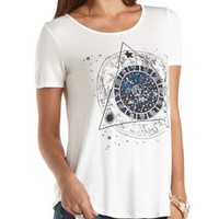 Zodiac Graphic Tee by Charlotte Russe - White Combo
