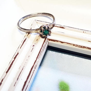 Emerald Ring / Sterling Silver Ring / Ring Size 8 1/2 / Minimalist Ring / Engagement Ring