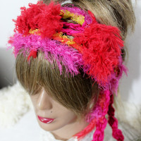 Red pink knitted headband, Red Hippie Headband, Red fur hair band, Red Hippie Head, Red Dread Band, Dread Women gift, Red Galaxies clothing
