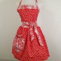 Woman's full Red Dot Floral Apron with Large Pocket