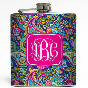 Personalized Blue Paisley - Monogram Flask