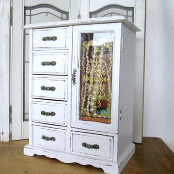Cottage Chic Armoire Jewelry Music Box  White Country Decor Chippy Paint
